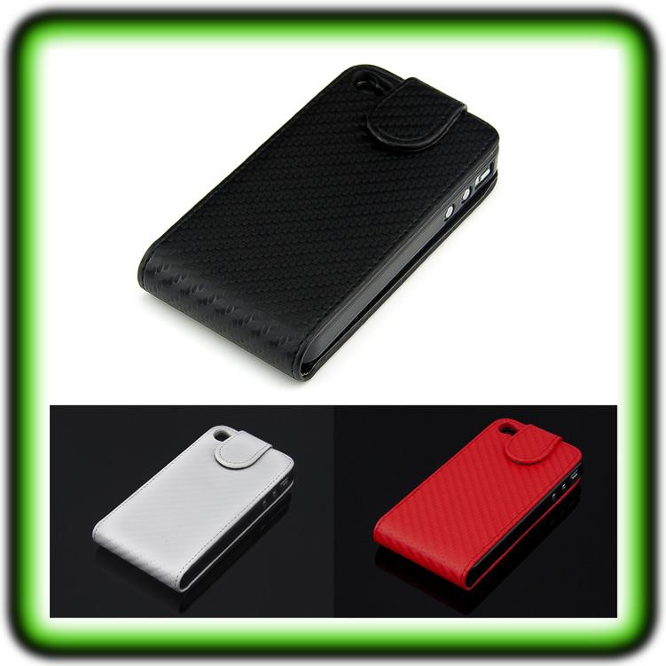 iphone 4 4s carbon case leder tasche h lle handy tasche. Black Bedroom Furniture Sets. Home Design Ideas