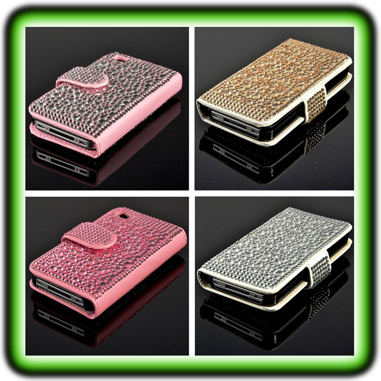 iphone 4 4s strass case bling leder tasche h lle cover. Black Bedroom Furniture Sets. Home Design Ideas