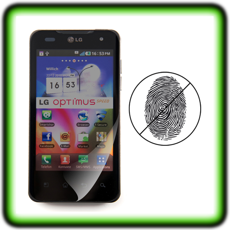 LG-OPTIMUS-SPEED-P990-DISPLAY-SCHUTZ-FOLIE-MATT-Anti-Fingerabdruck-Displayfolie